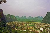 Aerial View Of Yanhshuo Village, China, Oil Paint Stylization