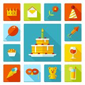 Set of flat vector birthday party icons.