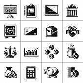 Finance icons set black