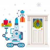 Vector Illustration Of The Machine That Puts Present Under The Door, Decorated Christmas Wreath.