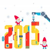 Vector Illustration Of The Gnome Operates The Machine That Puts Presents And Puts The Number 2015.