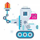 Vector Illustration Of The Machine Holds Christmas Present.