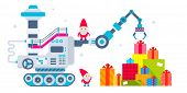 Vector Horizontal Christmas Illustration Of The Gnome Operates The Machine, Which Has Brought A Lot