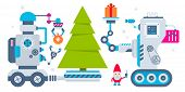Vector Horizontal Illustration Of The Gnome Operates The Machines That Carry Gift And Ball To Christ