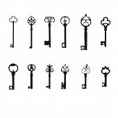Vector keys silhouette set. Antique Keys