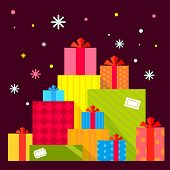Vector Christmas Illustration Of The Piles Of Presents On Dark Background With Colorful Snowflakes.