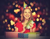 Beauty Girl In Red Dress With Gift Boxes To Christmas Or Birthday