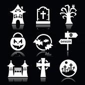 Halloween vector white icons set on black