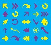 flat arrow icons, signs, symbols, illustrations, vectors set