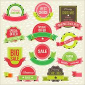 Collection of christmas ornaments and decorative elements, labels