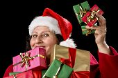 Perky Female Pensioner Presenting Wrapped Gifts.