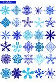 blue snowflakes on a white background