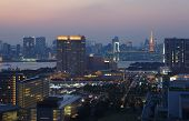 view of Tokyo bay and Tokyo Tower with rainbow bridge