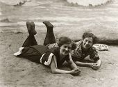Vintage women at the beach 1917
