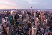view of new york city Manhattan at sunset