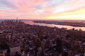 new york city manhattan sunset skyline