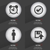 Set of Trendy buttons. Icons With Long Shadow. Vector