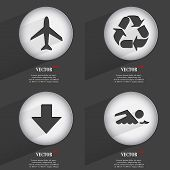 Set of 4 Flat Buttons. Icons with Shadows on Circular. Vector