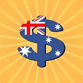 Australian dollar symbol with sunburst vector illustration