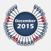 Vector calendar 2015 December template