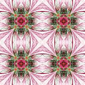 Symmetrical Flower Pattern In Stained-glass Window Style. Green, Yellow And Purple Palette
