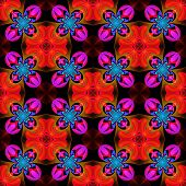 Beautiful Symmetrical Pattern Of The Flower Petals In Fractal Design. Red, Blue And Purple Palette.