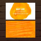 Bright orange artistic business card vector layout with paint strokes