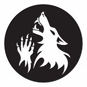 Vector werewolf stencil. Black-White color.