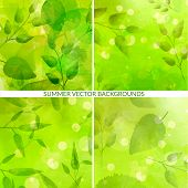 Set of green nature backgrounds with leaves and bokehs. Fresh vector textures with watercolor effect