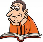 Reader Man Cartoon Illustration