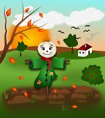 image of scarecrow  - Illustration of autumn landscape with scarecrow and leaves - JPG