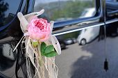Wedding Car With Flower And White Bow