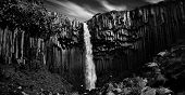 Svartifoss. Black waterfall. B&W.