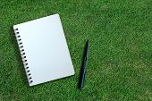White Page Of Notebook And Pen On Grass Texture