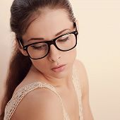 Beautiful Romantic Female Model In Fashion Glasses. Closeup Vintage Portrait