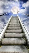 The Escalator Is Moving Up To The Starry Sky With A  Moon