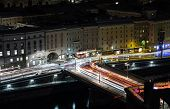 stock photo of mozart  - Traffic innercity at night - JPG
