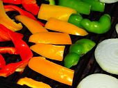 Fresh Grilled Bell Peppers And Onions On The Barbecue