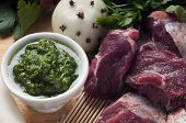 picture of veal meat  - ingredients for the preparation of meat broth with veal and different vegetables - JPG