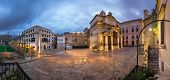 Panorama Saint Catherine Of Italy Church And Jean Vallette Pjazza In The Morning, Vallette, Malta
