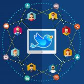 Social network flat illustration with avatars earth laptop