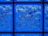Abstract Of A Blue-tone Glass Block Window