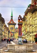 Fountain On The Kramgasse Street In The Old City Of Bern - Switzerland