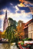 Bruges Cityscape With Church Of Our Lady, Belgium