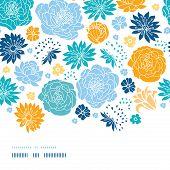 Blue and yellow flowersilhouettes horizontal decor seamless pattern background
