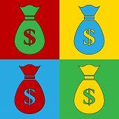 Pop Art Money Simbol Icons.