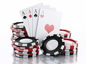 3d casino tokens and playing cards isolated white background