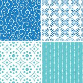 Four abstract doodle motives seamless patterns set