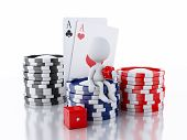 3d White people with casino tokens and cards