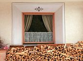 Window And Pile Of Firewood, Alps
